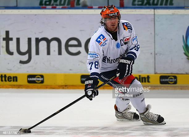 Mike York of Iserlohn Roosters skates against the Koelner Haie during the DEL match between Koelner Haie and Iserlohn Rooster at Lanxess Arena on...