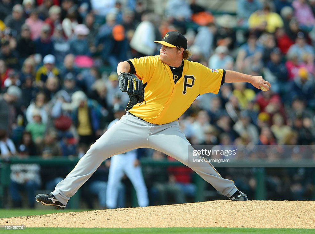 Mike Zagurski #52 of the Pittsburgh Pirates pitches during the spring training game against the Detroit Tigers at Joker Marchant Stadium on March 2, 2013 in Lakeland, Florida. The Tigers defeated the Pirates 4-1.