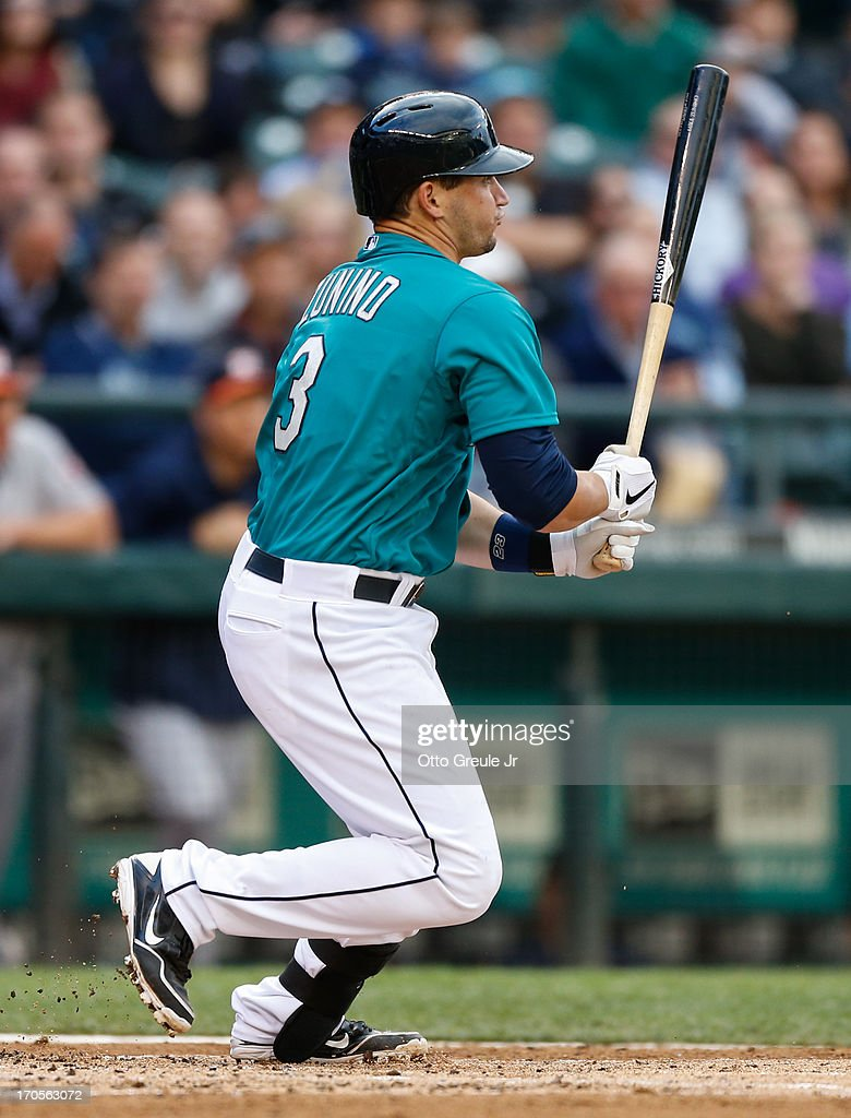 Mike Zunino #3 of the Seattle Mariners hits a foul ball during his first Major League at-bat in the second inning against the Houston Astros at Safeco Field on June 12, 2013 in Seattle, Washington.