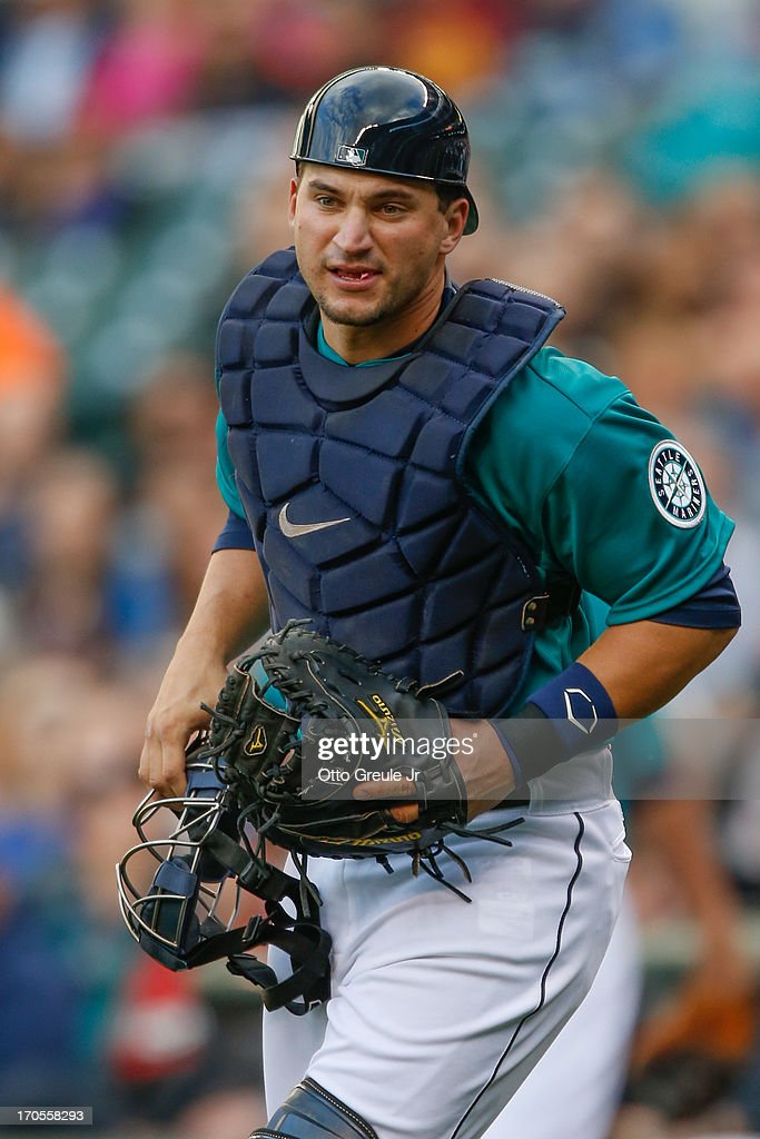 Mike Zunino #3 of the Seattle Mariners looks on against the Houston Astros at Safeco Field on June 12, 2013 in Seattle, Washington.