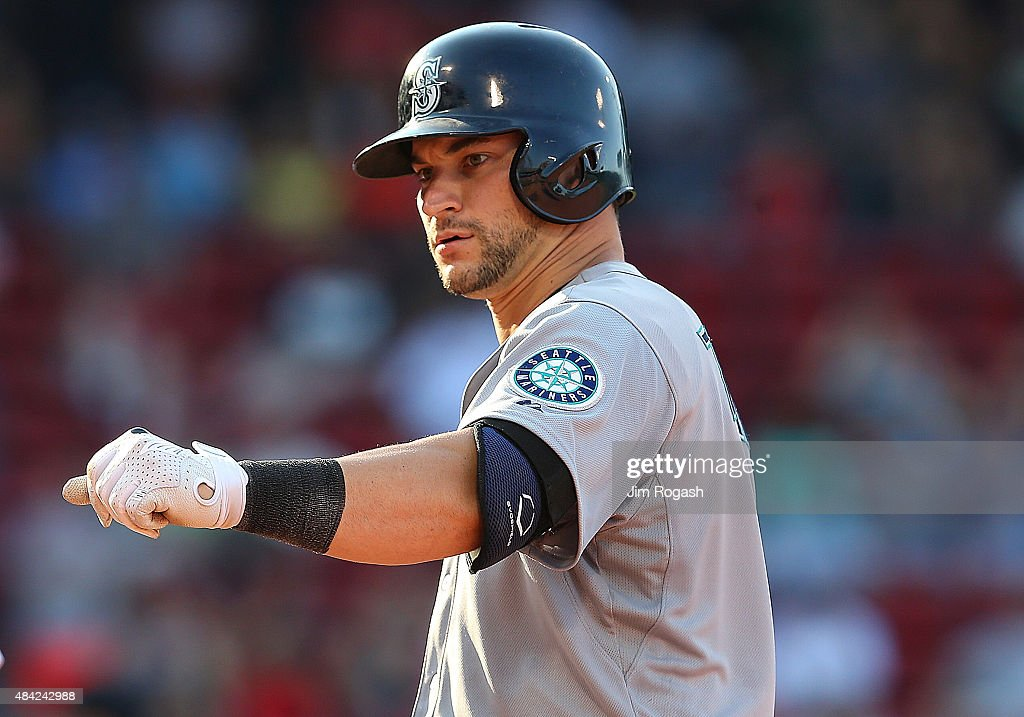 <a gi-track='captionPersonalityLinkClicked' href=/galleries/search?phrase=Mike+Zunino&family=editorial&specificpeople=6803368 ng-click='$event.stopPropagation()'>Mike Zunino</a> #3 of the Seattle Mariners reacts after knocking in the go ahead run against the Boston Red Sox in the eleventh inning at Fenway Park on August 16, 2015 in Boston, Massachusetts.