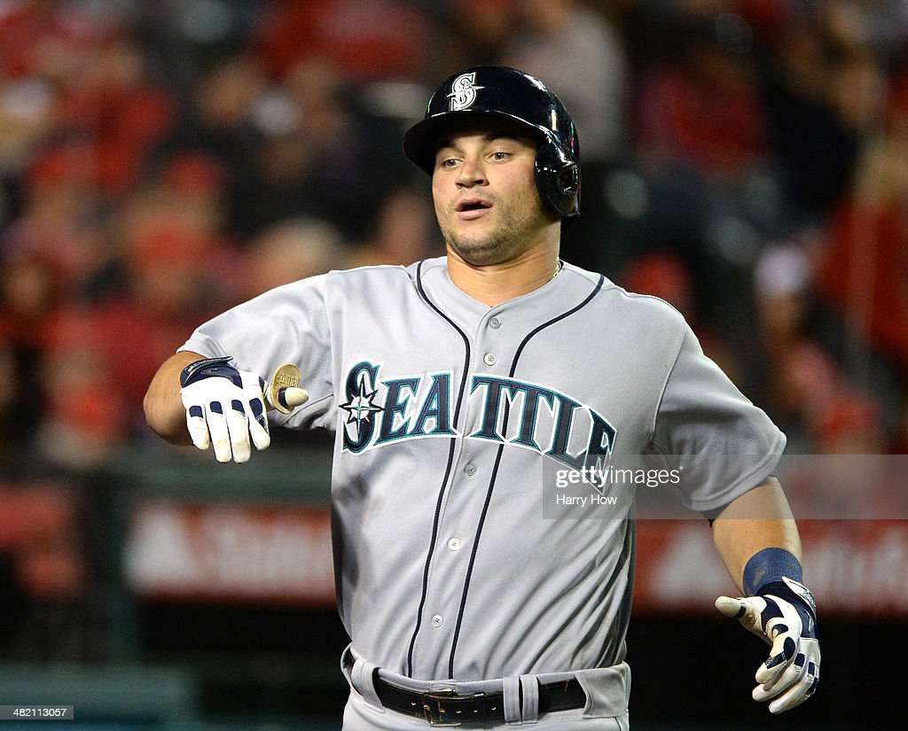 <a gi-track='captionPersonalityLinkClicked' href=/galleries/search?phrase=Mike+Zunino&family=editorial&specificpeople=6803368 ng-click='$event.stopPropagation()'>Mike Zunino</a> #3 of the Seattle Mariners reacts to his three run homerun to take a 6-0 lead over the Los Angeles Angels during the sixth inning at Angel Stadium of Anaheim on April 2, 2014 in Anaheim, California.