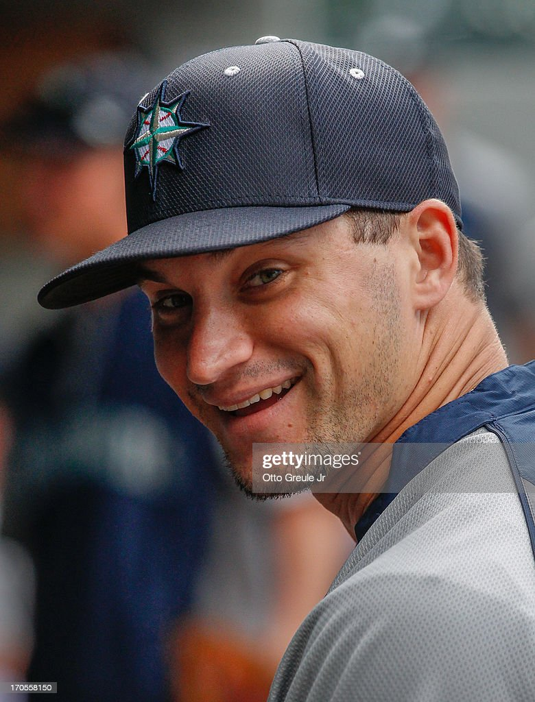 <a gi-track='captionPersonalityLinkClicked' href=/galleries/search?phrase=Mike+Zunino&family=editorial&specificpeople=6803368 ng-click='$event.stopPropagation()'>Mike Zunino</a> #3 of the Seattle Mariners smiles in the dugout prior to the game against the Houston Astros at Safeco Field on June 12, 2013 in Seattle, Washington.