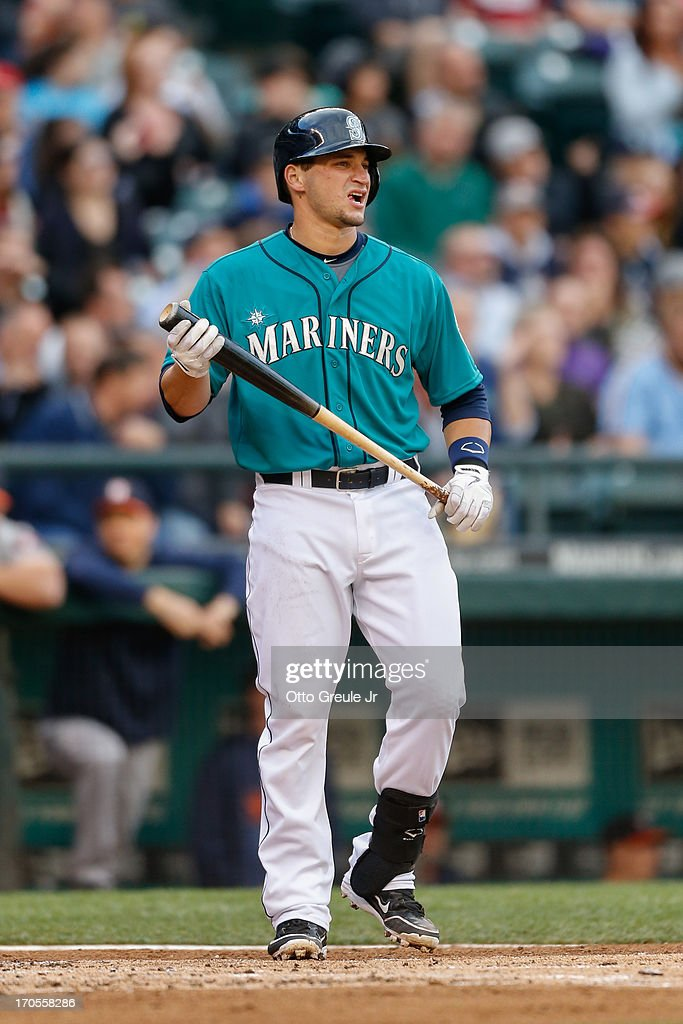 Mike Zunino #3 of the Seattle Mariners stands in for his first Major League at-bat in the second inning against the Houston Astros at Safeco Field on June 12, 2013 in Seattle, Washington.