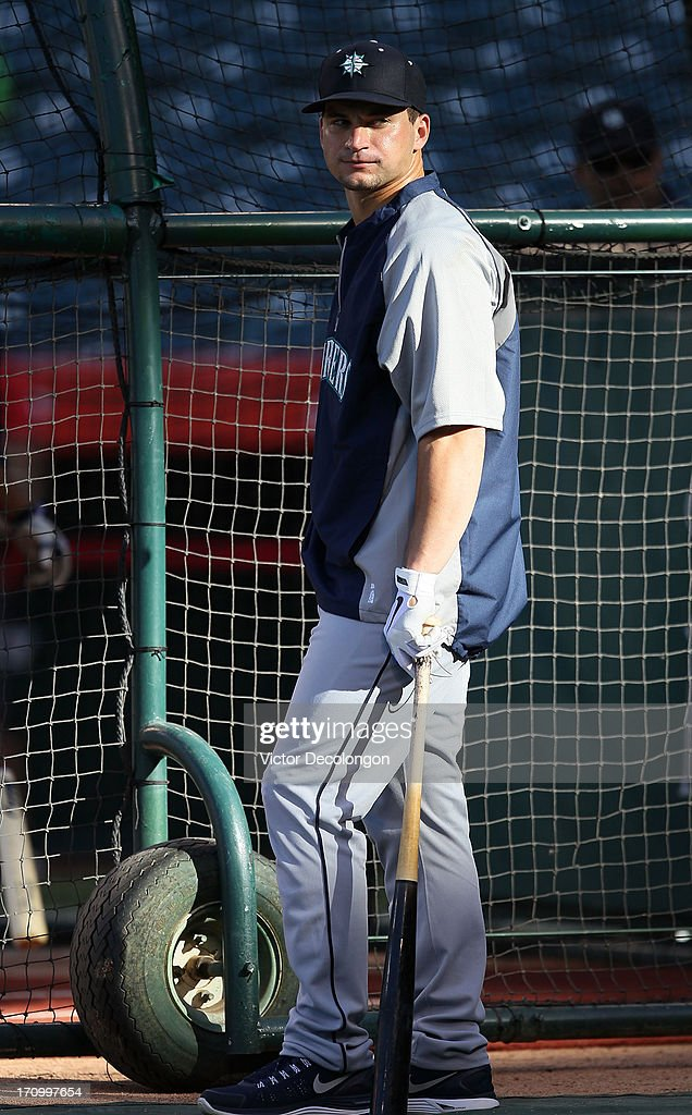 <a gi-track='captionPersonalityLinkClicked' href=/galleries/search?phrase=Mike+Zunino&family=editorial&specificpeople=6803368 ng-click='$event.stopPropagation()'>Mike Zunino</a> #3 of the Seattle Mariners waits his turn in the batting cage during batting practice prior to the MLB game against the Los Angeles Angels of Anaheim at Angel Stadium of Anaheim on June 19, 2013 in Anaheim, California. The Angels defeated the Mariners 1-0.