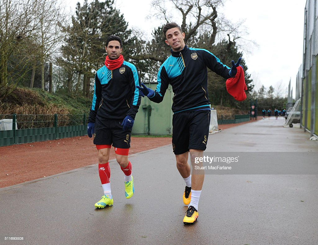 Mikel Arteta and Gabriel of Arsenal before a training session at London Colney on February 22, 2016 in St Albans, England.