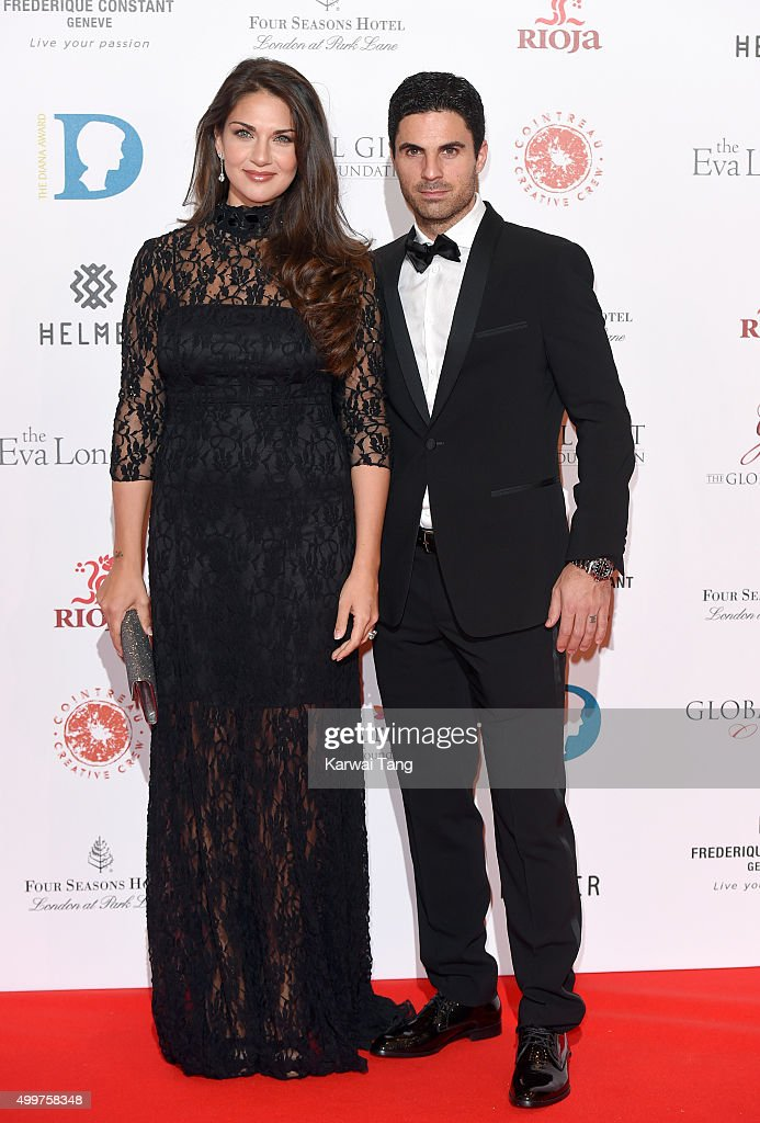 Mikel Arteta and Lorena Bernal attend The Global Gift Gala at Four Seasons Hotel on November 30, 2015 in London, England.