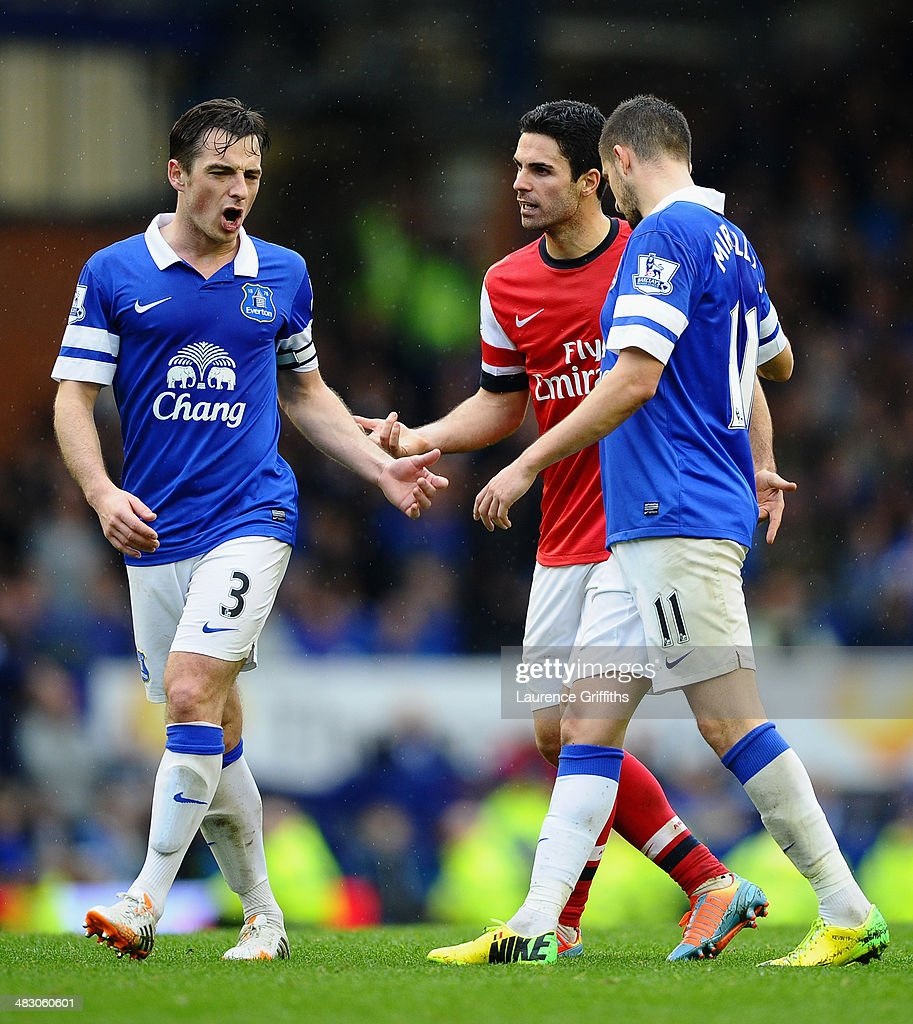 Mikel Arteta of Arsenal clashes with Leighton Baines of Everton during the Barclays Premier League match between Everton and Arsenal at Goodison Park on April 6, 2014 in Liverpool, England.