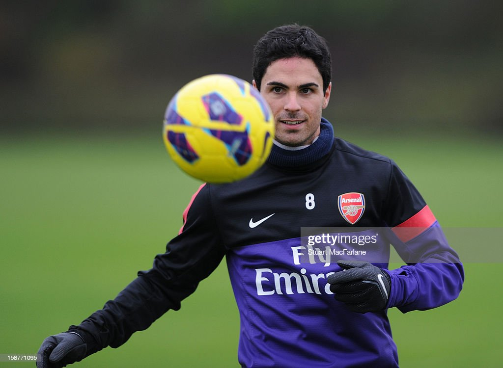 Mikel Arteta of Arsenal during a training session at London Colney on December 28, 2012 in St Albans, England.