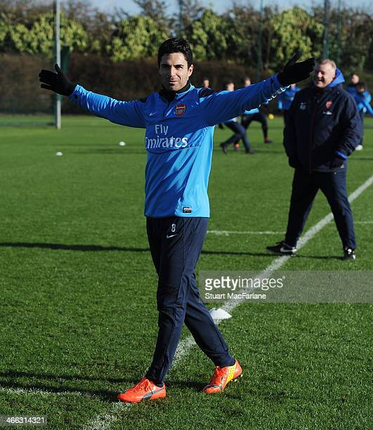 Mikel Arteta of Arsenal during a training session at London Colney on February 1 2014 in St Albans England
