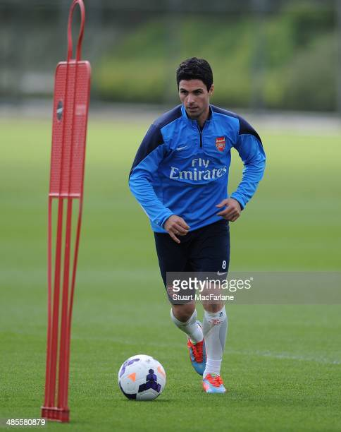 Mikel Arteta of Arsenal during a training session at London Colney on April 19 2014 in St Albans England