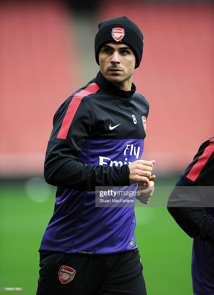 <a gi-track='captionPersonalityLinkClicked' href=/galleries/search?phrase=Mikel+Arteta&family=editorial&specificpeople=235322 ng-click='$event.stopPropagation()'>Mikel Arteta</a> of Arsenal in action during a training session at Emirates Stadium on January 03, 2013 in London, England.