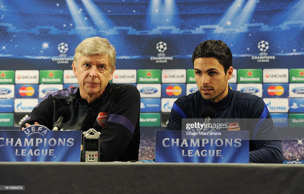 <a gi-track='captionPersonalityLinkClicked' href=/galleries/search?phrase=Mikel+Arteta&family=editorial&specificpeople=235322 ng-click='$event.stopPropagation()'>Mikel Arteta</a> (R) of Arsenal speaks beside manager <a gi-track='captionPersonalityLinkClicked' href=/galleries/search?phrase=Arsene+Wenger&family=editorial&specificpeople=171184 ng-click='$event.stopPropagation()'>Arsene Wenger</a> during a press conference ahead of their UEFA Champions League match against FC Bayern Muenchen at London Colney on February 18, 2013 in St Albans, England.