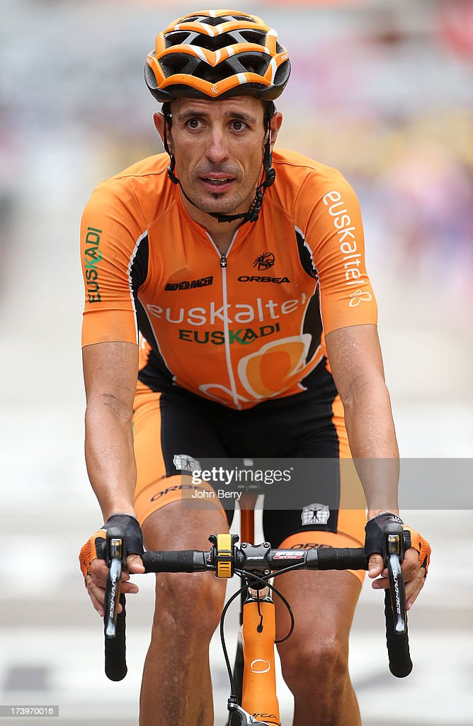 Mikel Astarloza of Spain and Team EuskaltelEuskadi finishes stage eighteen of the 2013 Tour de France a 1725KM road stage from Gap to l'Alpe d'Huez...