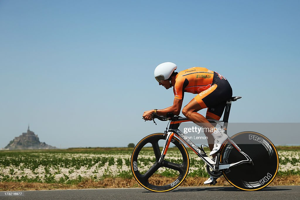 Mikel Astarloza of Spain and Team EuskaltelEuskadi rides during stage eleven of the 2013 Tour de France a 33KM Individual Time Trial from Avranches...