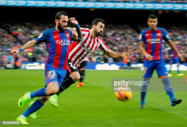 Mikel Balenziaga and Aleix Vidal during La Liga match between FC Barcelona v Athletic Club in Barcelona on February 04 2017