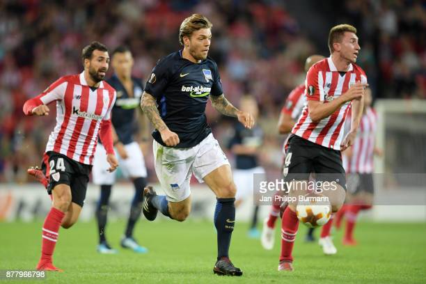 Mikel Balenziaga of Athletic Bilbao Alexander Esswein of Hertha BSC and Aymeric Laporte of Athletic Bilbao during the game between Athletic Bilbao...