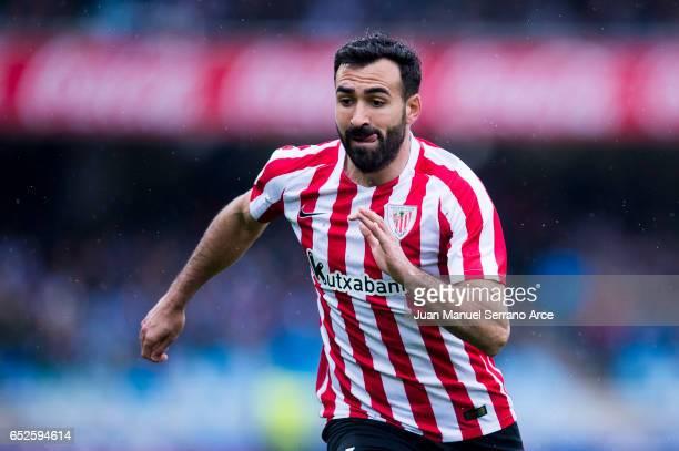 Mikel Balenziaga of Athletic Club Bilbao reacts during the La Liga match between Real Sociedad de Futbol and Athletic Club Bilbao at Estadio Anoeta...