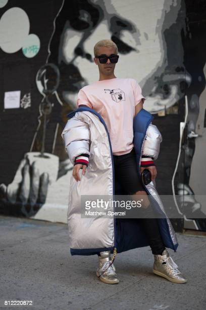 Mikel BenyaminÊ is seen attending TEDDY ONDO ELLA during Men's New York Fashion Week wearing Tommy Hilfiger and Homies Wonderland on July 10 2017 in...