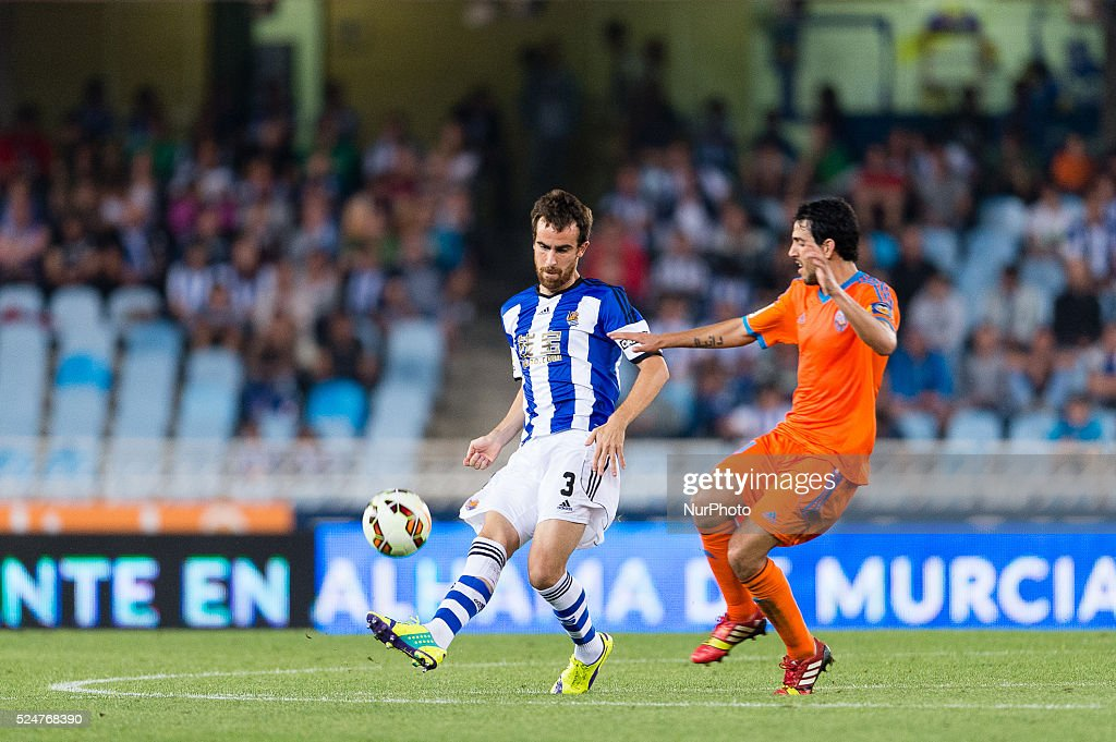 Mikel Gonzalez during the Spanish league football match Real Sociedad vs Valencia CF at the Anoeta stadium in San Sebastian on September 28 2014 The...