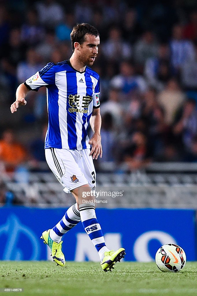 Mikel Gonzalez Martinez of Real Sociedad during the La Liga match between Real Sociedad de Futbol and Real Madrid CF at Estadio Anoeta on August 31...