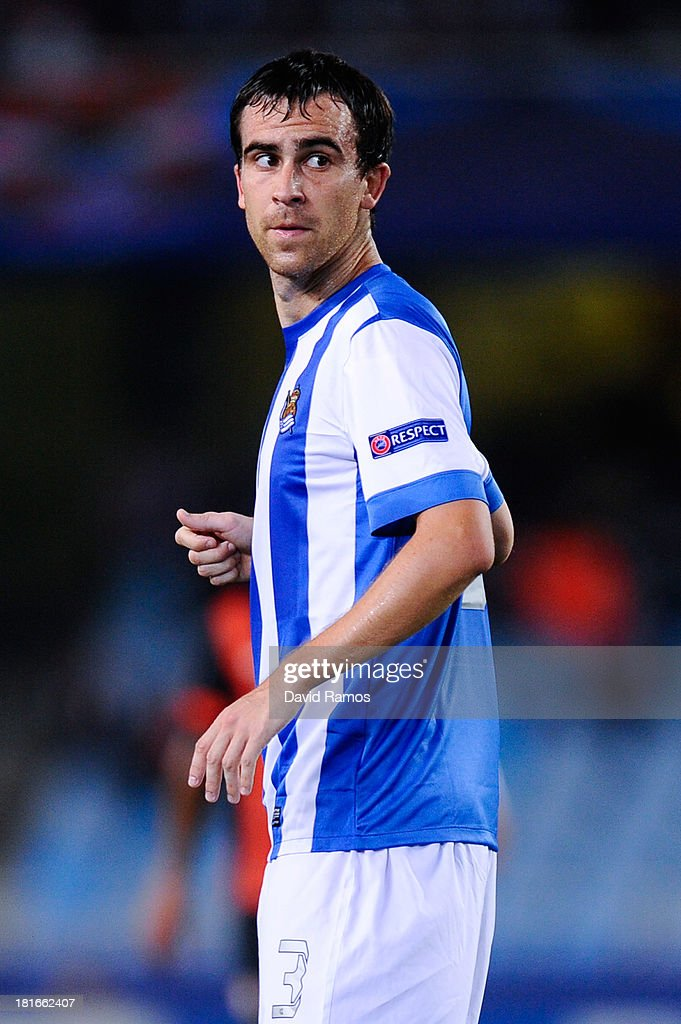 Mikel Gonzalez of Real Sociedad de Futbol looks on during the UEFA Champions League Group A match between Real Sociedad de Futbol and FC Shakhtar...