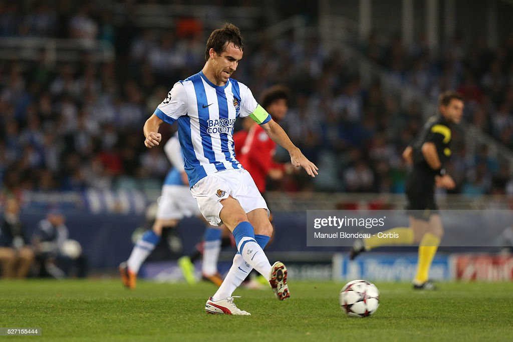 Mikel Gonzalez of Real Sociedad in action during the UEFA Champions league football match between Real Sociedad and Manchester United at the Anoeta...