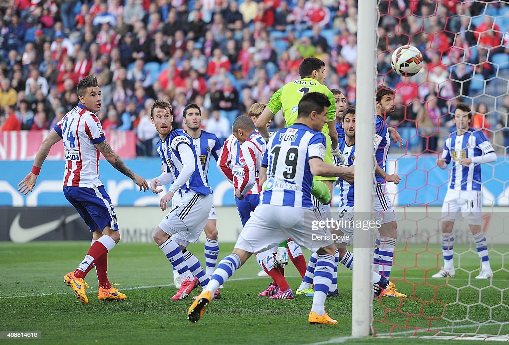 Mikel Gonzalez of Real Sociedad scores an own goal during the La Liga match between Club Atletico de Madrid and Real Sociedad at Vicente Calderon...