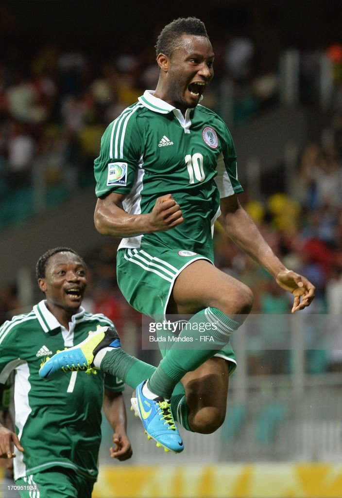 <a gi-track='captionPersonalityLinkClicked' href=/galleries/search?phrase=Mikel+John+Obi&family=editorial&specificpeople=4050358 ng-click='$event.stopPropagation()'>Mikel John Obi</a> of Nigeria celebrates scoring his team's first goal during the FIFA Confederations Cup Brazil 2013 Group B match between Nigeria and Uruguay at Estadio Octavio Mangabeira (Arena Fonte Nova Salvador) on June 20, 2013 in Salvador, Brazil.