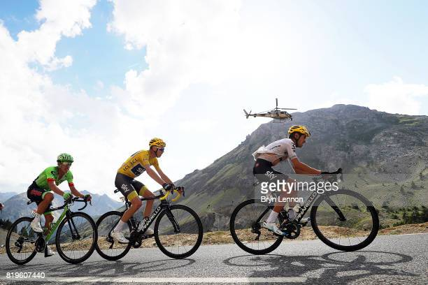 Mikel Landa of Spain and Team SKY leads team mate and race leader Chris Froome of Great Britain Rigoberto Uran of Colombia and Cannondale Drapac up...