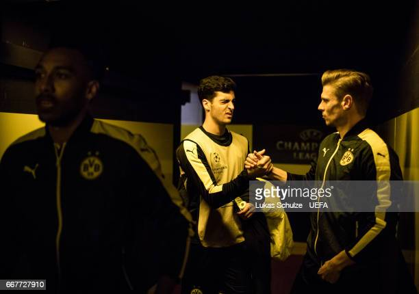 Mikel Merino and Lukas Piszczek of Dortmund are focused in the player tunnel prior to the UEFA Champions League Quarter Final first leg match between...