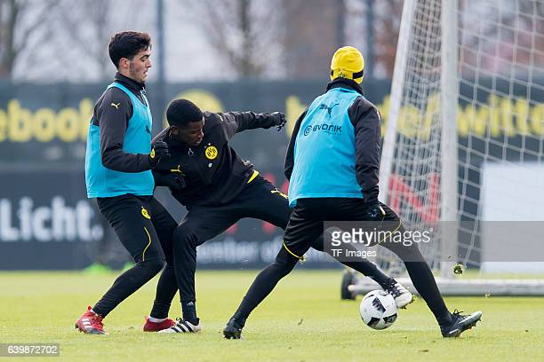 Mikel Merino of Borussia Dortmund and Alexander Isak of Borussia Dortmund battle for the ball during a training session at the BVB Training center on...