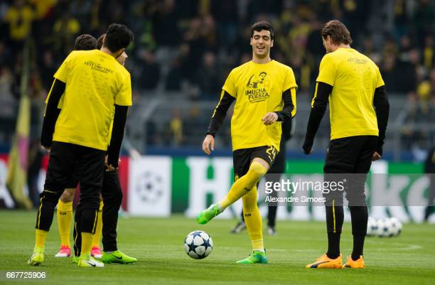 Mikel Merino of Borussia Dortmund wearing the designed shirt for Marc Bartra prior to the UEFA Champions League Quarter Final First Leg match between...