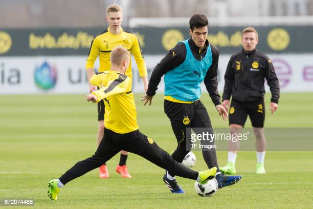 Mikel Merino of Dortmund battle for the ball during a training session at the BVB Training center on March 15 2017 in Dortmund Germany