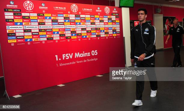 Mikel Merino of Newcastle United arrives for the Pre Season Friendly match between FSV Mainz 05 and Newcastle United at Opel Arena on July 29 in...