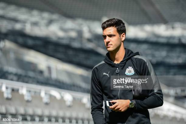 Mikel Merino of Newcastle United arrives for the Premier League Match between Newcastle United and Tottenham Hotspur at StJames' Park on August 13 in...
