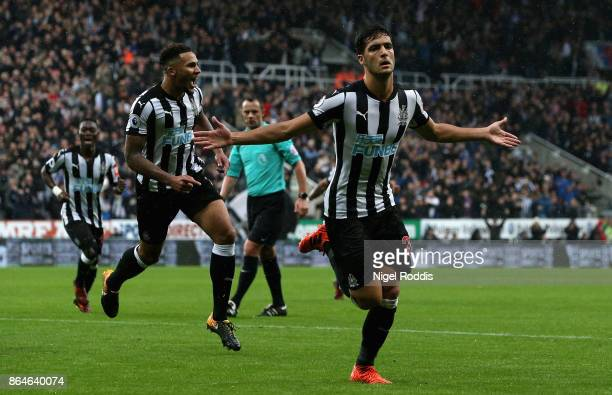 Mikel Merino of Newcastle United celebrates as he scores their first goal during the Premier League match between Newcastle United and Crystal Palace...