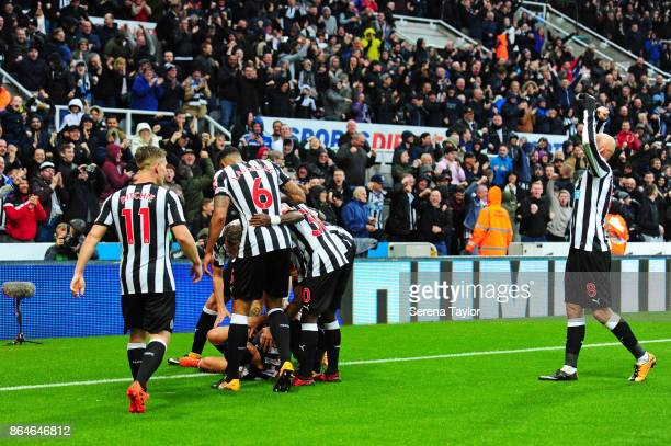 Mikel Merino of Newcastle United celebrates with teammates after he scores the only goal during the Premier League match between Newcastle United and...