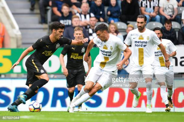 Mikel Merino of Newcastle United controls the ball during the Pre Season Friendly match between Newcastle United and Hellas Verona at StJames' Park...