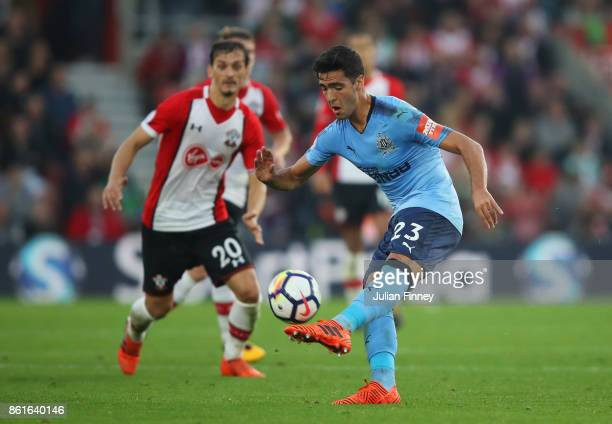 Mikel Merino of Newcastle United controls the ball during the Premier League match between Southampton and Newcastle United at St Mary's Stadium on...
