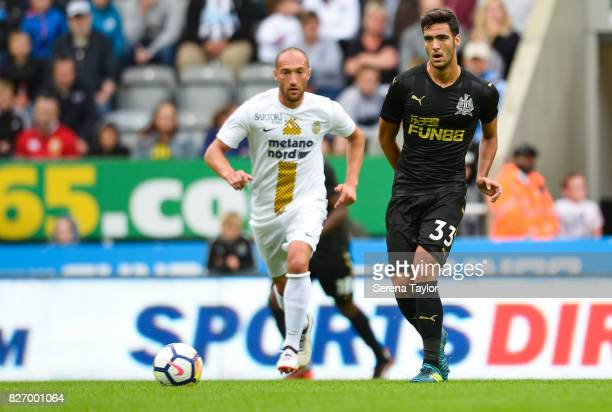 Mikel Merino of Newcastle United passes the ball during the Pre Season Friendly match between Newcastle United and Hellas Verona at StJames' Park on...