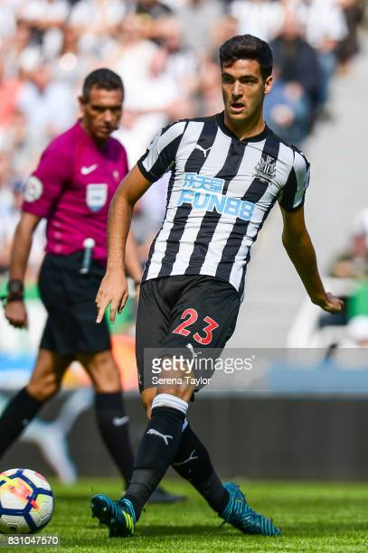 Mikel Merino of Newcastle United passes the ball during the Premier League Match between Newcastle United and Tottenham Hotspur at StJames' Park on...