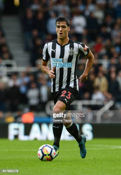 Mikel Merino of Newcastle United runs with the ball during the Premier League match between Newcastle United and Stoke City at StJames' Park on...