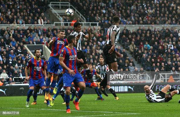 Mikel Merino of Newcastle United scores the first goal during the Premier League match between Newcastle United and Crystal Palace at St James Park...