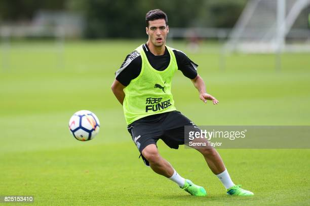 Mikel Merino receives the ball during the Newcastle United Training session at the Newcastle United Training ground on August 1 in Newcastle upon...