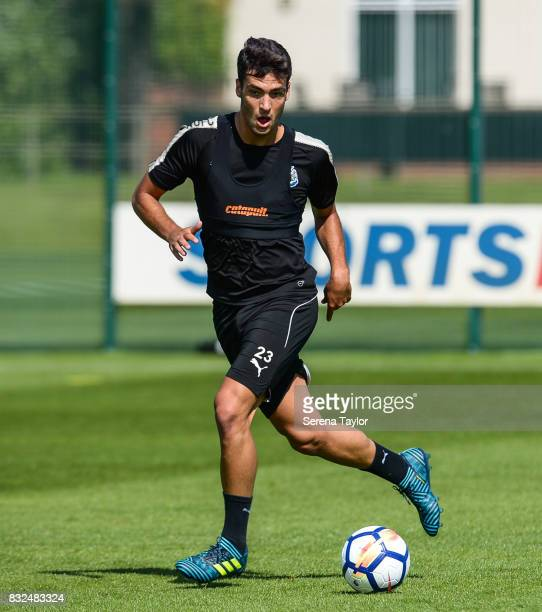 Mikel Merino runs with the ball during the Newcastle United Training session at the Newcastle United Training Centre on August 16 in Newcastle upon...