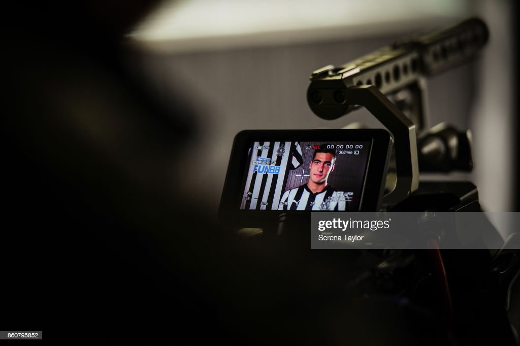 Mikel Merino sits for an interview with NUFCTV after signing a permanent contract at the Newcastle United Training Centre on October 13, 2017, in Newcastle, England.