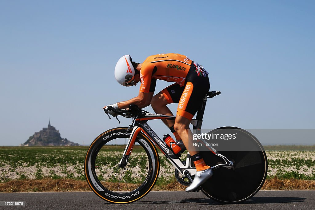 Mikel Nieve Iturralde of Spain and Team EuskaltelEuskadi rides during stage eleven of the 2013 Tour de France a 33KM Individual Time Trial from...
