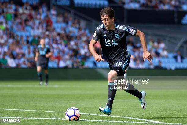 Mikel Oyarzabal midfielder of Real Sociedad de Futbol drives the ball during the La Liga Santander match between Celta de Vigo and Real Sociedad de...