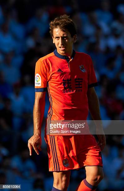 Mikel Oyarzabal of Real Sociedad looks on during the La Liga match between Celta de Vigo and Real Sociedad at Balaidos Stadium on August 19 2017 in...